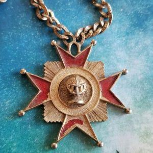 Vintage Trifari knight Maltese cross necklace gold